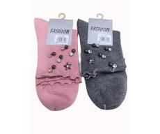 FASHION / однотонные носки с звездами из хлопка.